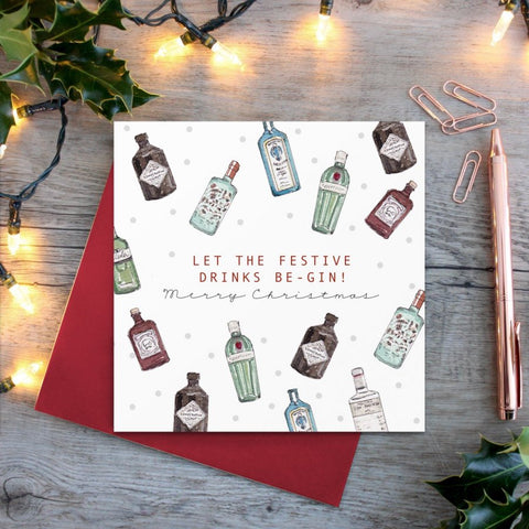 cadeauxwells - Let the Festive Drinks Be-Gin card - Toasted Crumpet - Greetings Cards