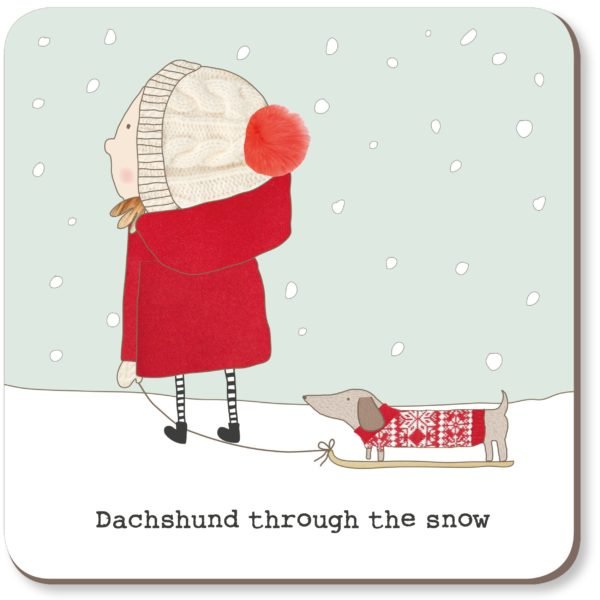 cadeauxwells - Dachshund Snow Coaster - Rosie Made a Thing - Homewares