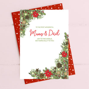 cadeauxwells - Mum & Dad - joy to the world - Dandelion Stationery - Seasonal Cards