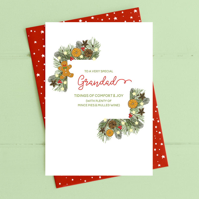 cadeauxwells - Grandad - tidings of comfort and joy - Dandelion Stationery - Seasonal Cards