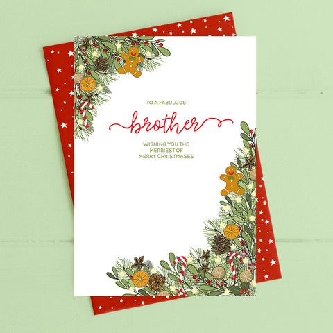 cadeauxwells - Brother - with love at Christmas - Dandelion Stationery - Seasonal Cards