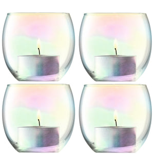 cadeauxwells - Set of four Mother of Pearl Tealight Holders - LSA - Glassware