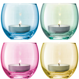cadeauxwells - Set of four assorted Polka Pastel Tealight Holders - LSA - Glassware