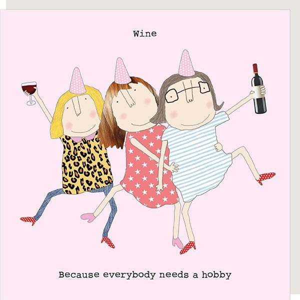 cadeauxwells - Wine Hobby - Rosie Made a Thing - Greetings Card
