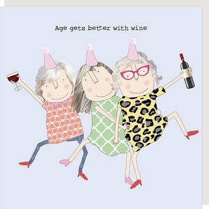 cadeauxwells - Age Wine Girl - Rosie Made a Thing - Greetings Card