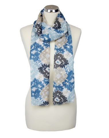 cadeauxwells - Hibiscus Scarf - Blue / Grey - Peony - Accessories