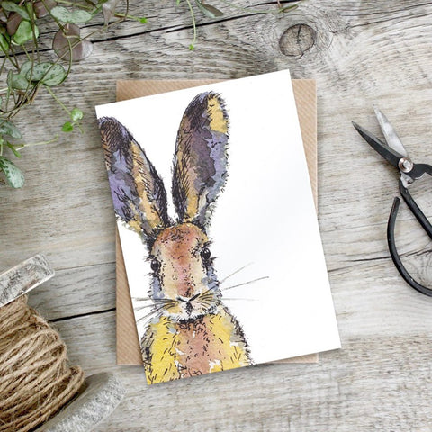 cadeauxwells - Coloured Hare card - Toasted Crumpet - Greetings Card