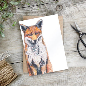 cadeauxwells - Bushy Tailed Fox card - Toasted Crumpet - Greetings Card