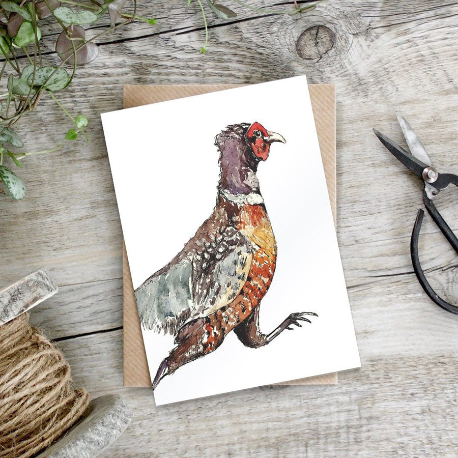 cadeauxwells - Running Pheasant card - Toasted Crumpet - Greetings Cards