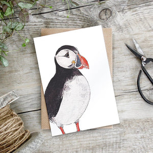 cadeauxwells - Atlantic Puffin card - Toasted Crumpet - Greetings Card