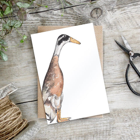 cadeauxwells - Indian Runner Duck card - Toasted Crumpet - Greetings Cards