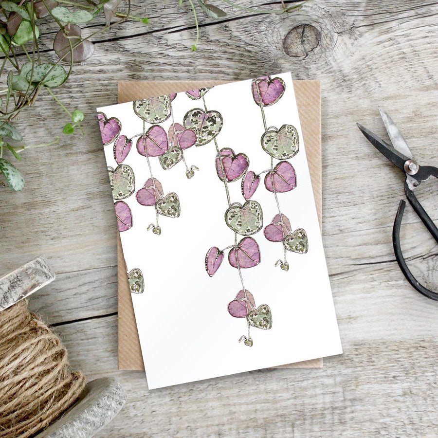 cadeauxwells - String of Hearts card - Toasted Crumpet - Greetings Cards