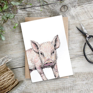 cadeauxwells - Little Piglet card - Toasted Crumpet - Greetings Cards