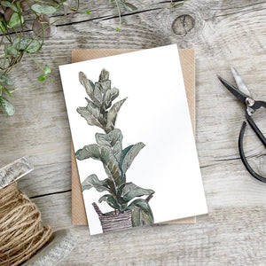 cadeauxwells - Fiddle Leaf Fig card - Toasted Crumpet - Greetings Card