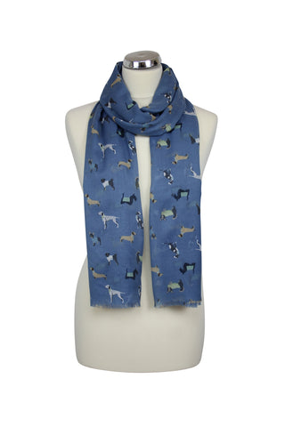 cadeauxwells - Navy Scarf decorated with dogs - Peony - Accessories