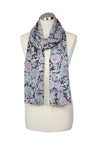 cadeauxwells - Charcoal Scarf with Pinecones - Peony - Accessories