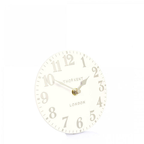 "cadeauxwells - 6"" Arabic Mantel Clock White Linen - Art Marketing - Homewares"