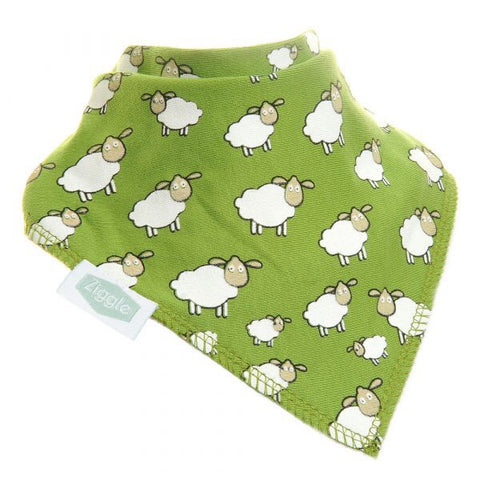 Fun absorbent baby bandana - Green - Sheep in field