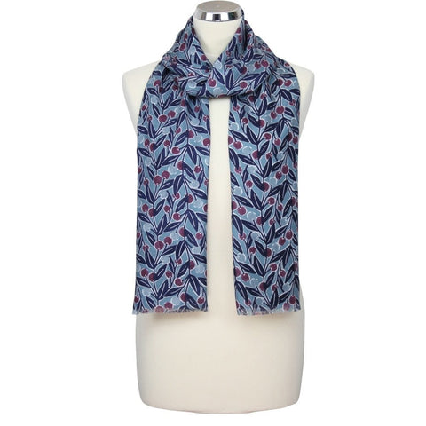 Berry Print Scarf - Navy