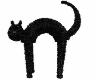 cadeauxwells - Black Tinsel Standing Cat Ornament - Gisela Graham - Seasonal