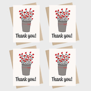 Mini Card Pack - Thank you - flowers