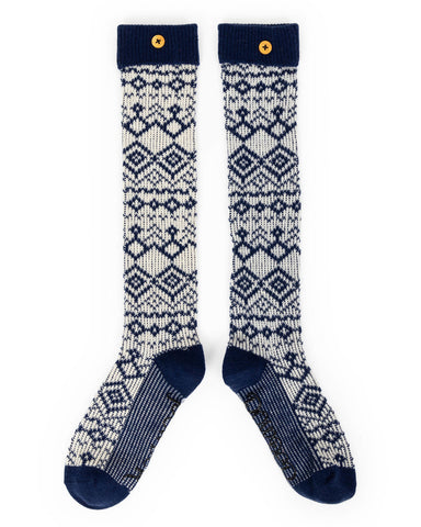 Ladies Boot Socks - Fair Isle - Navy