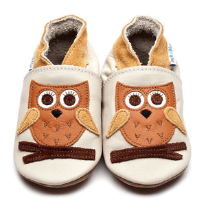Inch Blue Baby Shoes - Hoot Cream