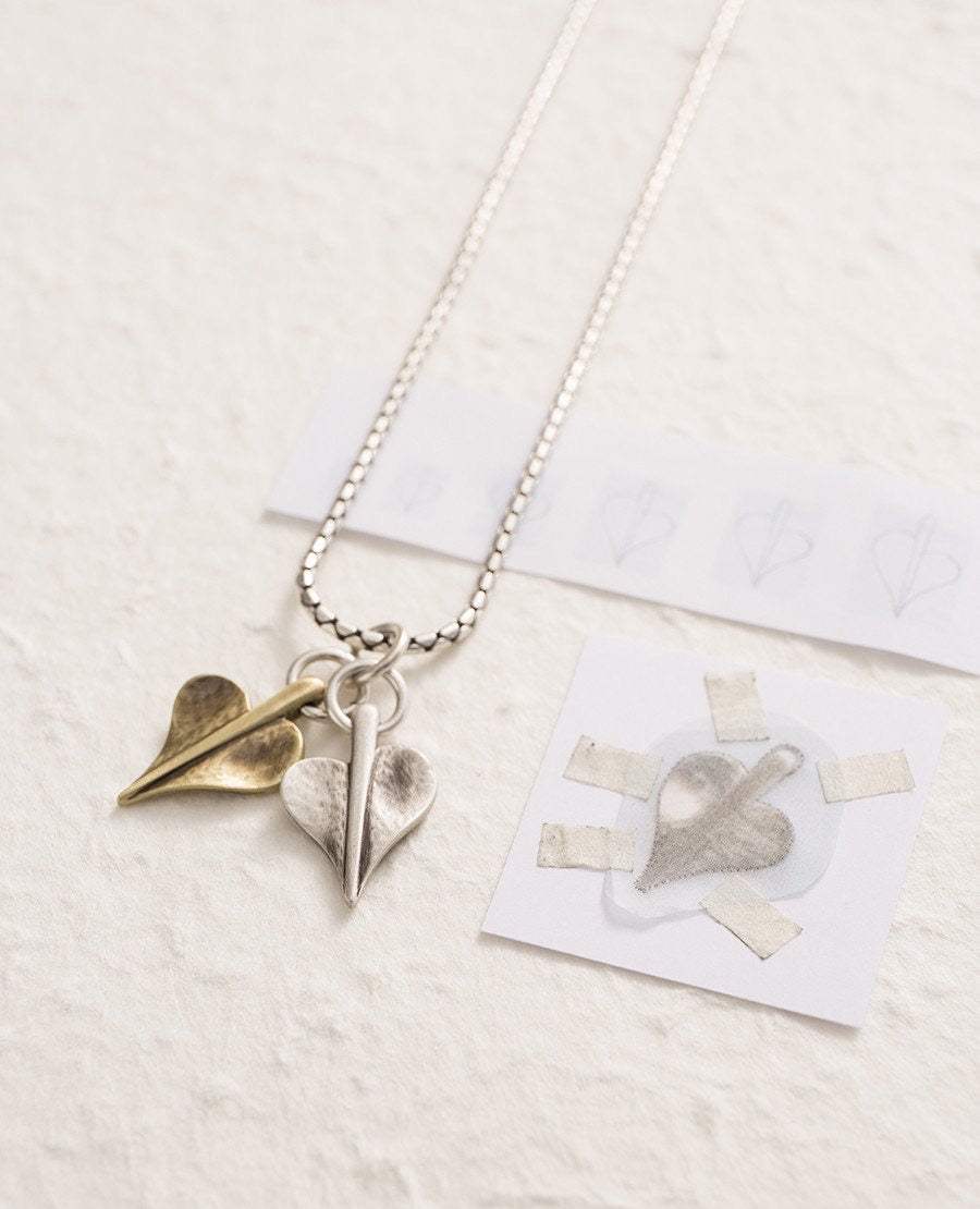 Silver Leaf of Love Double Heart Necklace by Danon