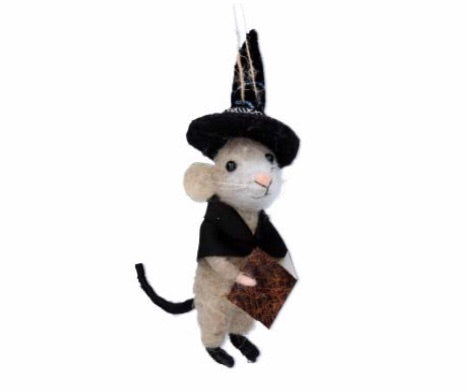 cadeauxwells - Mixed Wool Mouse Witch with Book Decoration - Gisela Graham - Seasonal