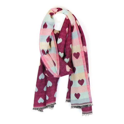 Jacquard Heart Scarf - Plum with Pastel Hearts