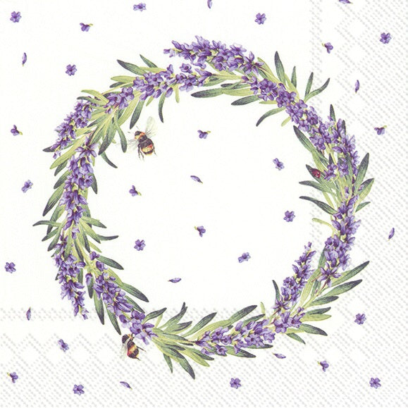 Lunch Napkins - Lavender Wreath