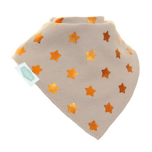 Fun absorbent baby bandana - metallic - light grey with copper stars