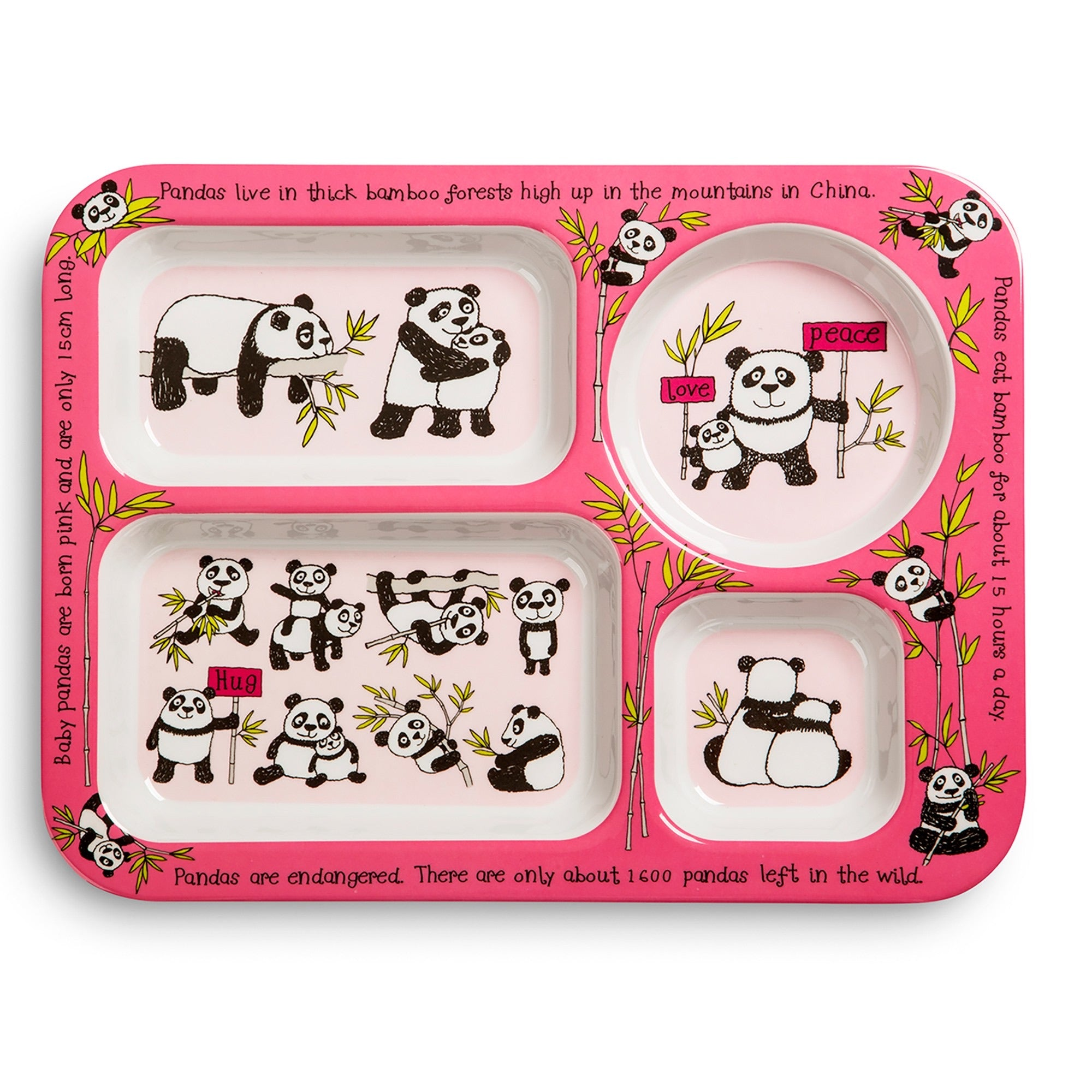 Compartment Tray - Pandas