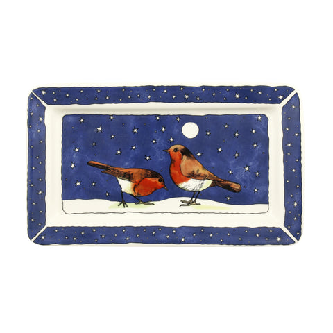 Robins In The Snow Medium Oblong Plate