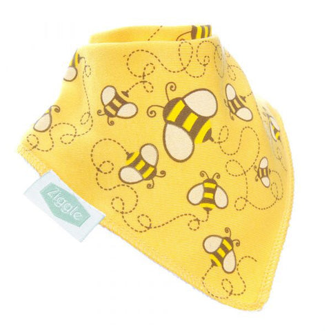 Fun absorbent baby bandana - stylish cream Honeybees