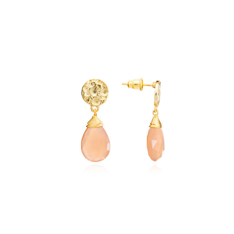 'Kate' Large Earrings - Peach Moonstone