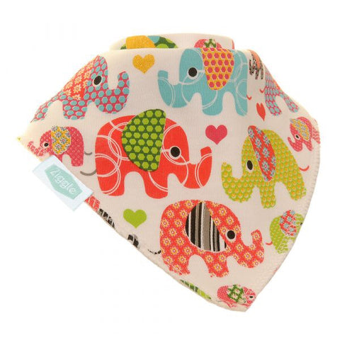 Fun absorbent baby bandana - ethnic elephants