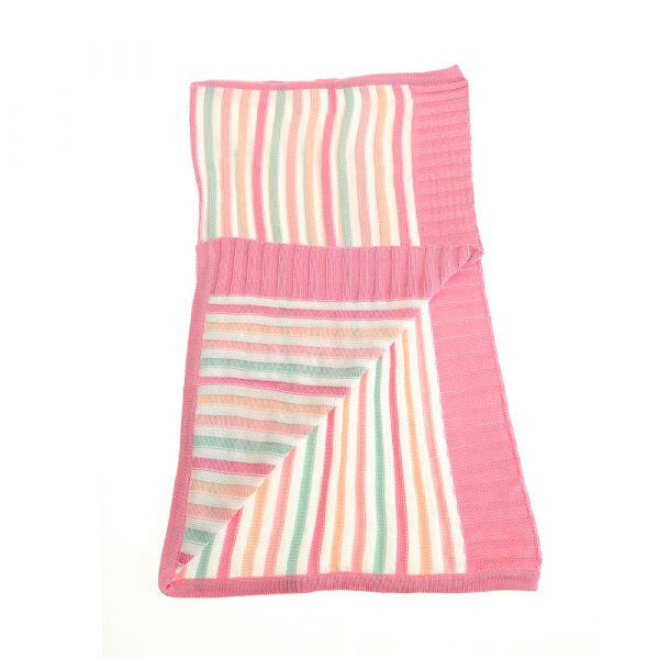 Blanket - pink and green stripe knit blanket