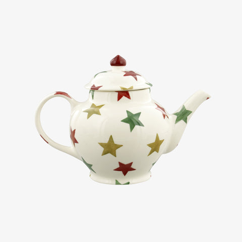 Red, Green & Gold Star 3 Mug Teapot