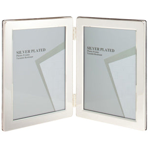 Silver Plated Flat Edge Double Photo Frame - 4 x 6