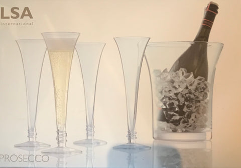 cadeauxwells - Prosecco set - 4 flutes and ice bucket - LSA - Glassware