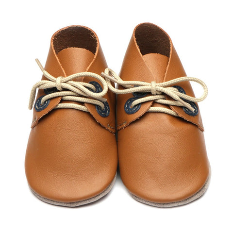 Inch Blue Baby Shoes - Derby - Caramel/Navy