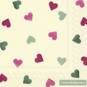 Cocktail Napkins - Emma Bridgewater Pink & Green Hearts