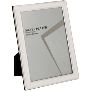 Silver Plated Cream Enamel Photo Frame - 5 x 7