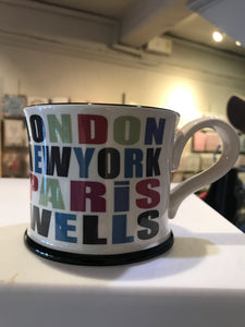 cadeauxwells - Mug - London, New York, Paris, Wells - Moorland Pottery -