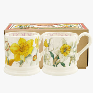 Flowers Daffodils & Narcissus Set of 2 1/2 Pint Mugs Boxed