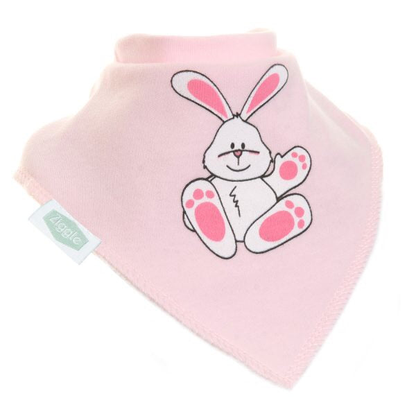 Fun absorbent baby bandana - Cute pink rabbit
