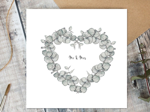 Mr & Mrs - Eucalyptus Card