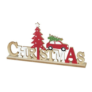 Wooden Christmas Sign with car