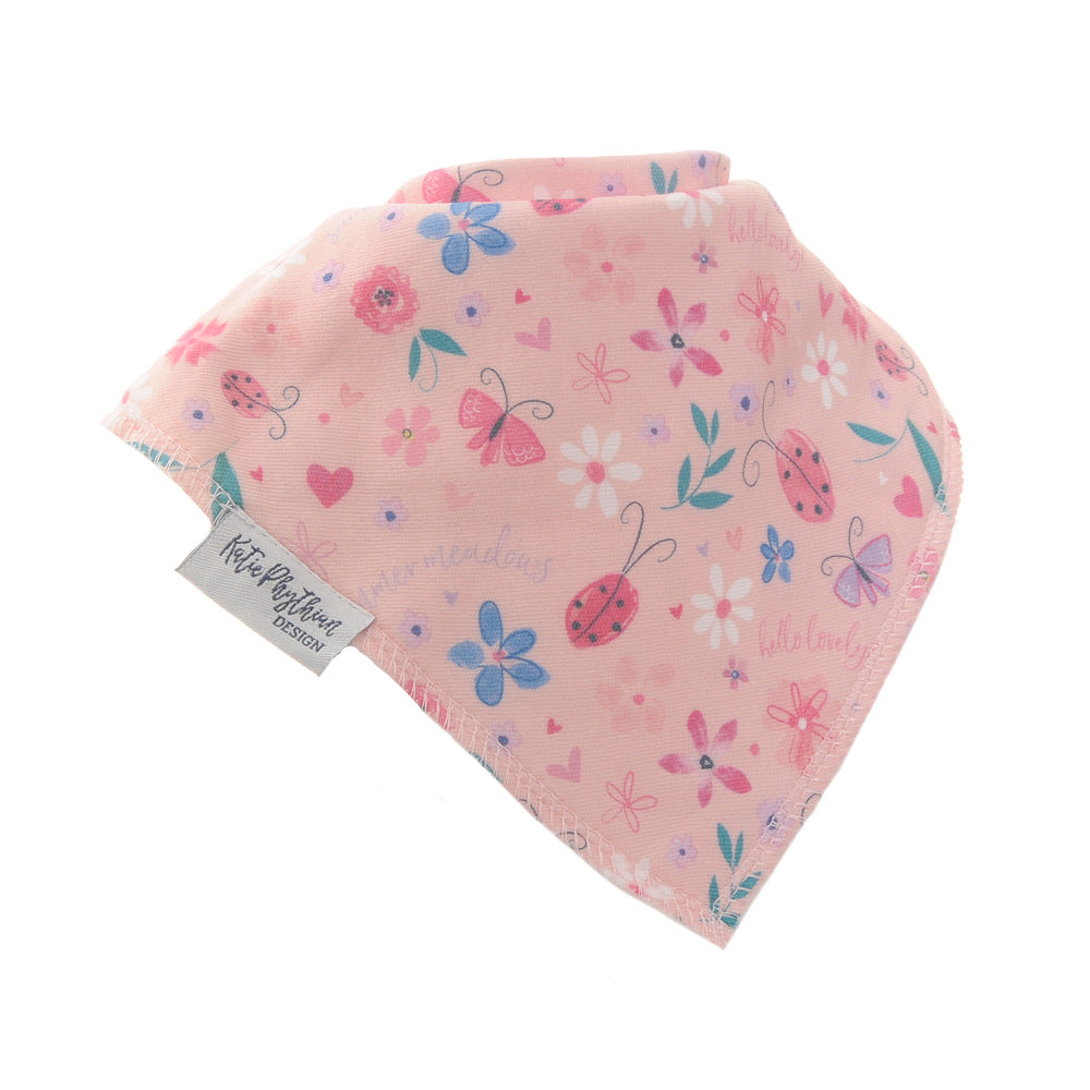 Fun absorbent baby bandana - Summer Meadow by Katie Pythian